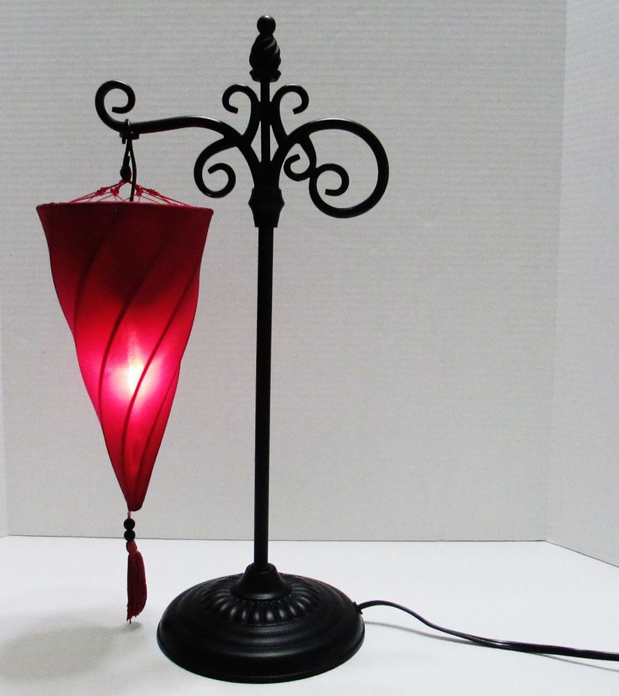 Merveilleux Moroccan Desk/table Lamp With Upside Down Hanging Spiral Cloth Shade.  Wrought Iron 20