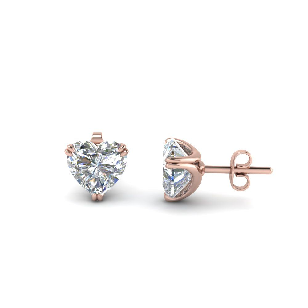Heart Diamond Stud Earring 2 Carat In 14k Rose Gold At Fascinating Diamonds This Earrings Can Be Customized As Per Your Desire
