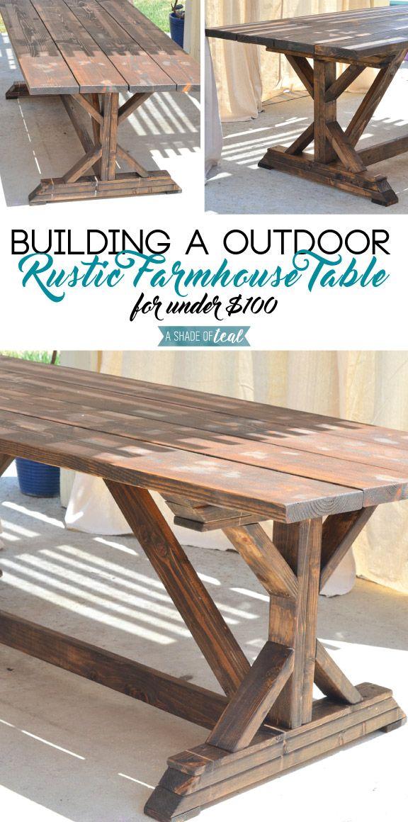 building a outdoor rustic farmhouse table diy home improvement bloggers best rustic. Black Bedroom Furniture Sets. Home Design Ideas