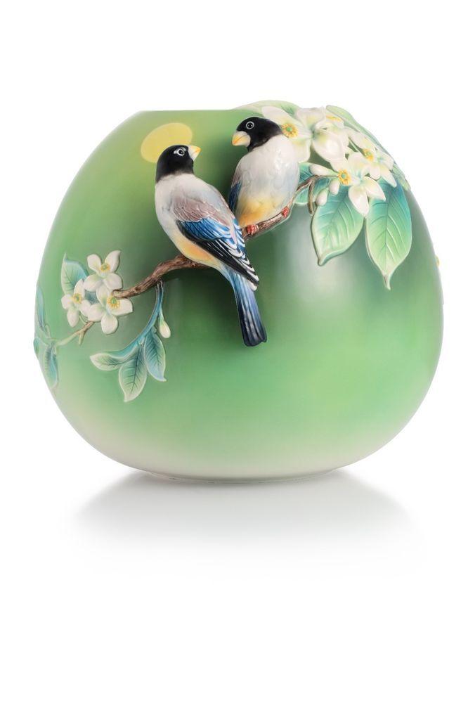 FZ03009 Franz Porcelain Pomelo & Hawfinch design vase Mid Autumn Collect New