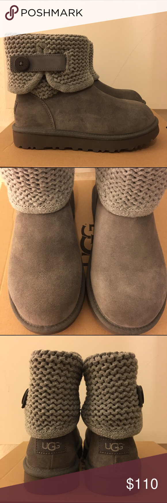 20224818eb3 NEW Women's UGG Shaina Suede & Knit Cuff Boots Shaina gray Suede and ...