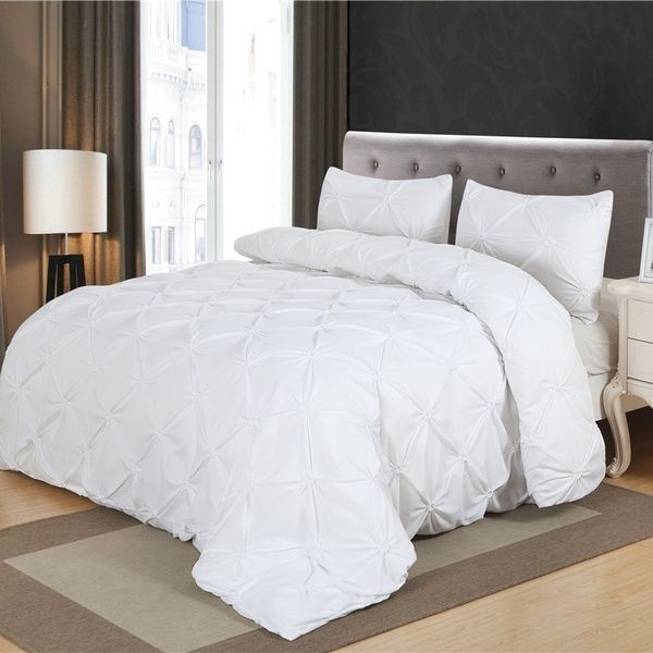 Home Bedding Sets White Pinch Pleat Duvet Cover Set Twin Queen King Size White Duvet Covers White Bed Set Bedding Sets