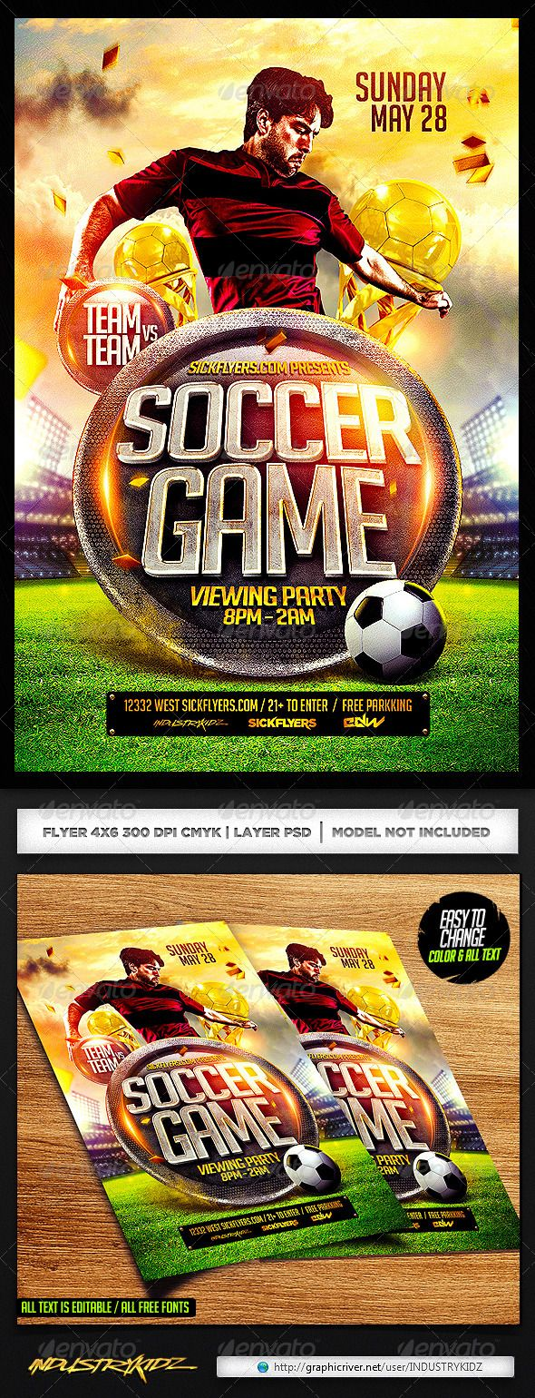 Soccer Flyer Template PSD – Free Sports Flyer Templates