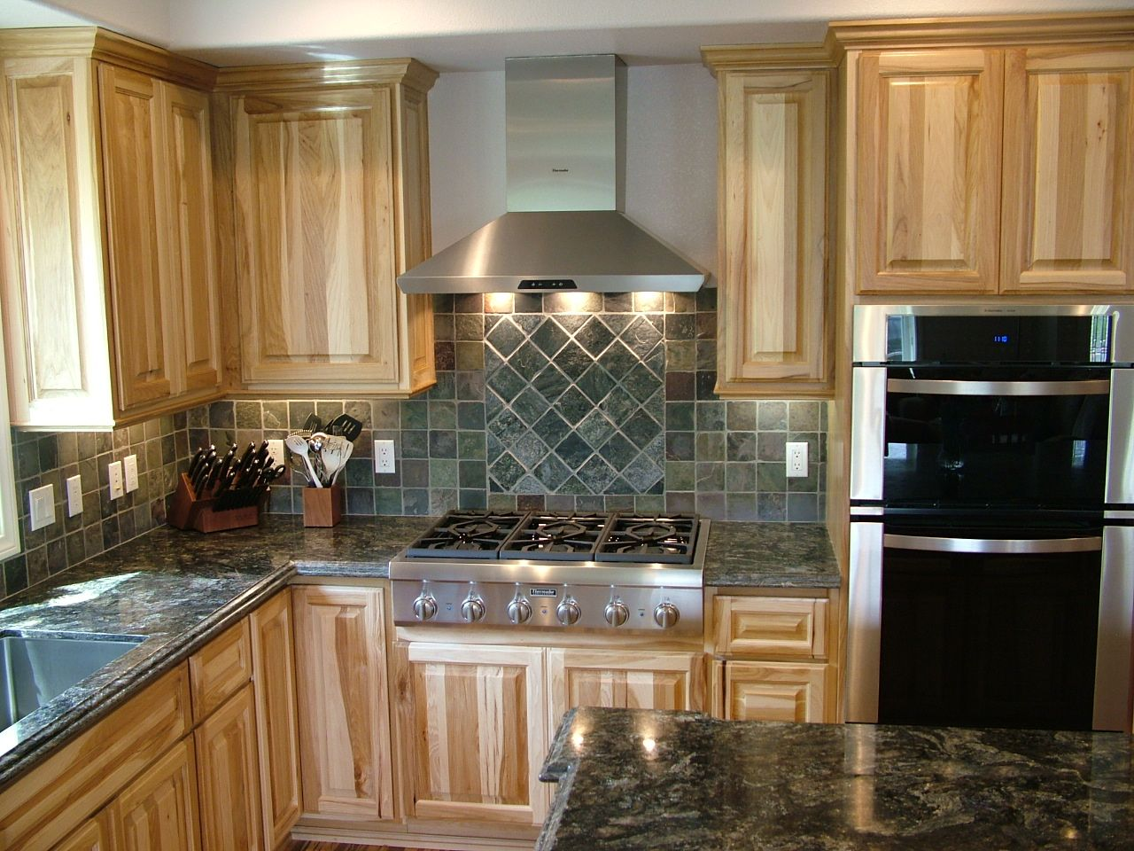 Hickory Kitchen Cabinets Love The Cabinets Counter Stainless Stove And Grey Paint Home