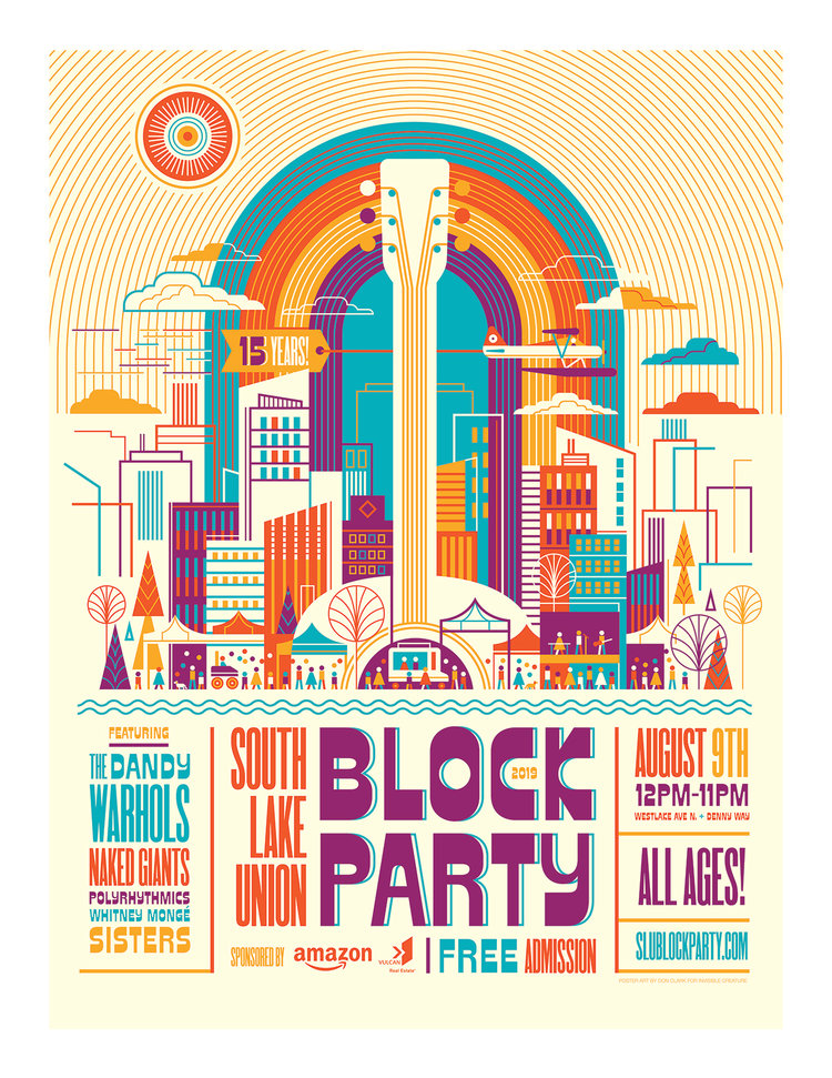 2019 South Lake Union Block Party Invisible Creature Cool Poster Designs Block Party