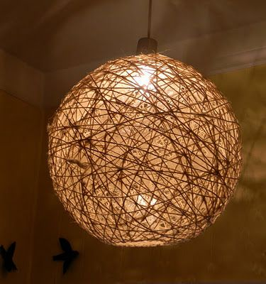 Balloon String Lights Diy : Twine Orb Light - Run string through mod podge and wind around a large balloon/beach ball. Wait ...