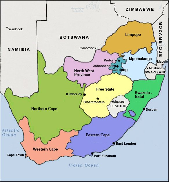 Map Of South Africa Provinces Key Cities Marked Out Zuid - Where is south africa map world