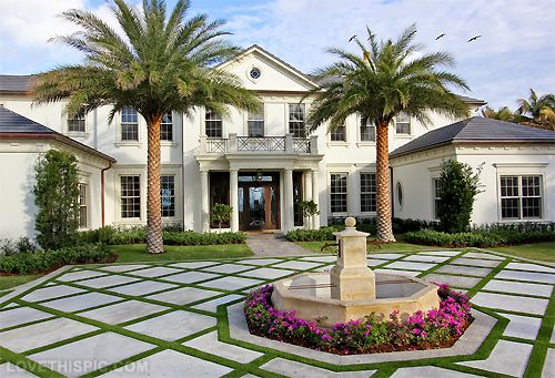 Awesome stone pattern walk way, great landscaping | Luxury House ...