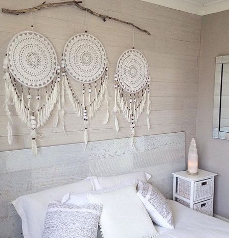 Crochet blanc et beige dreamcatcher #collagewalls