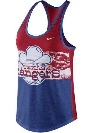 Nike Texas Rangers Womens Blue Dri Blend Cooperstown Tank Top Performance Tank Tops Athletic Tank Tops Performance Tank