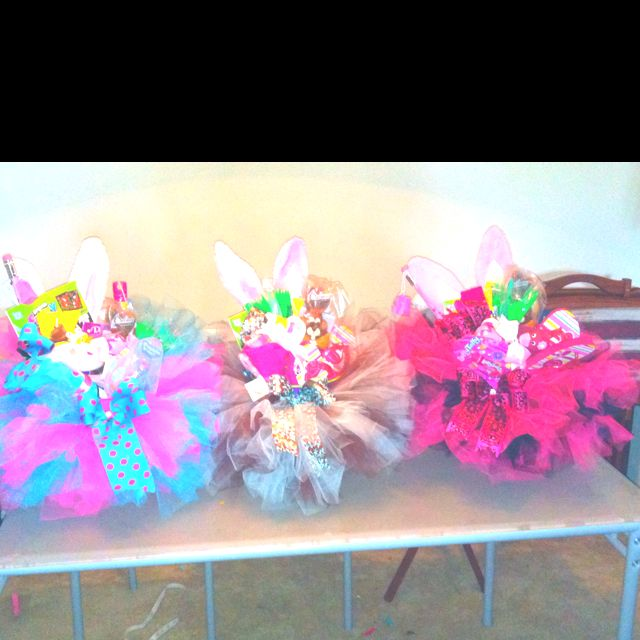 Easter baskets with tutus around it