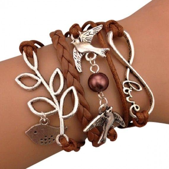 Brown Love Birds Arm Party Bracelet