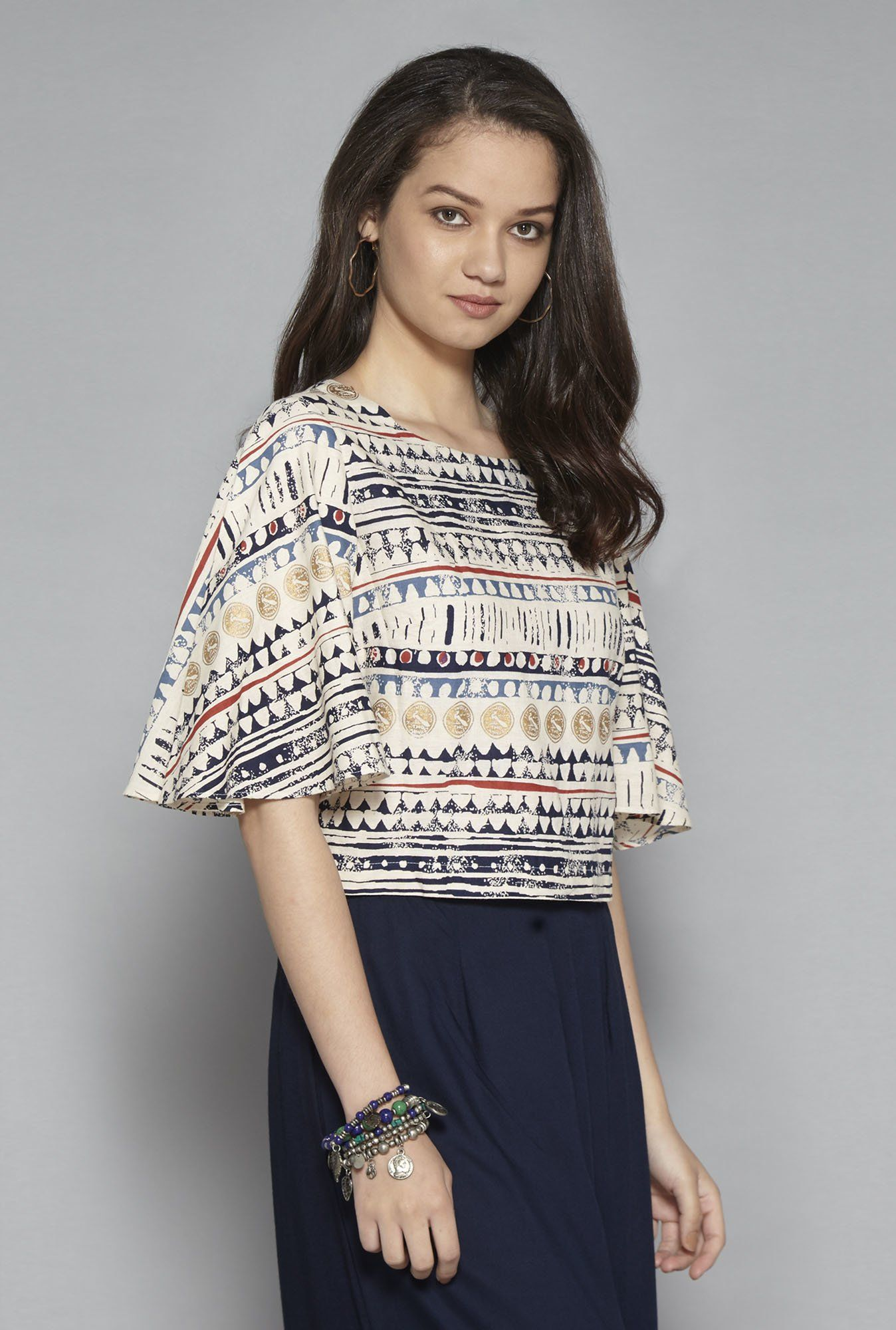 2555b8209a4c4 Bombay Paisley by Westside Off White Cropped Blouse