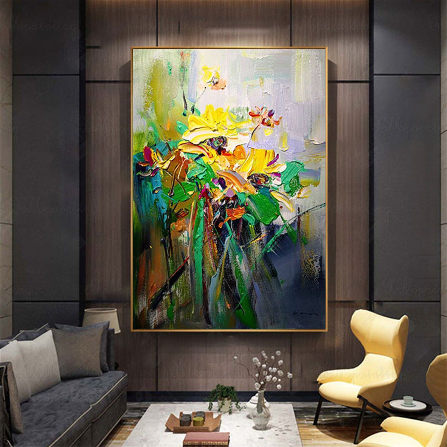 gold flowers original acrylic abstract painting on canvas on modern acrylic paintings for living room id=71292