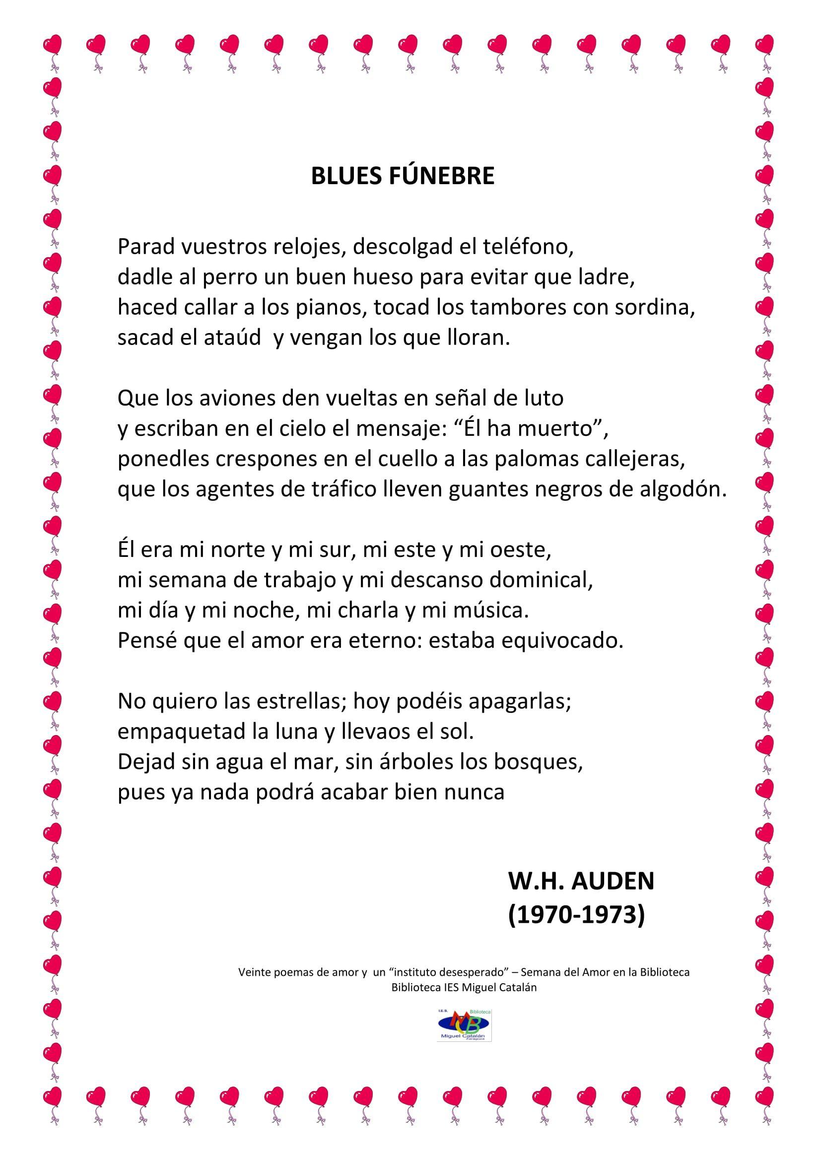 Poema 9 blues funebre de auden 1 lengua pinterest - Amor en catalan ...