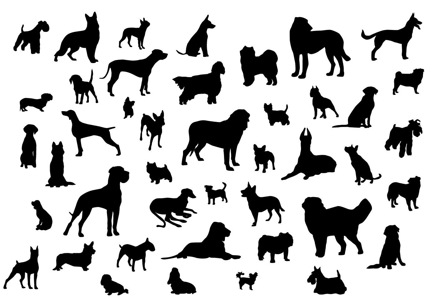 Dog Silhouettes Vector 980