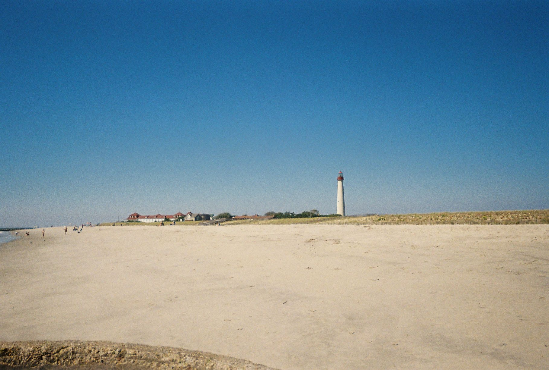 cape may lighthouse from the beach