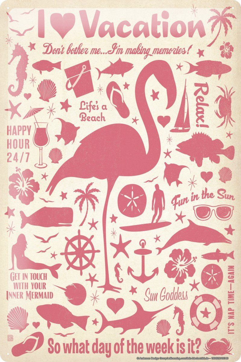 Blechschild Küche Amazon Blechschild Fun Wand Deko I Love Vacation Beach Flamingo Coctail