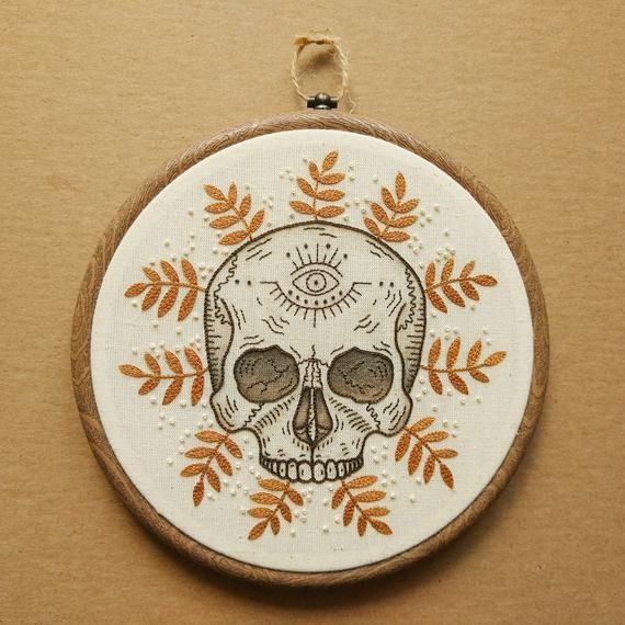 PDF pattern - Tropical Skull with Eye detail Hand Embroidery Pattern (PDF modern hand embroidery pattern)