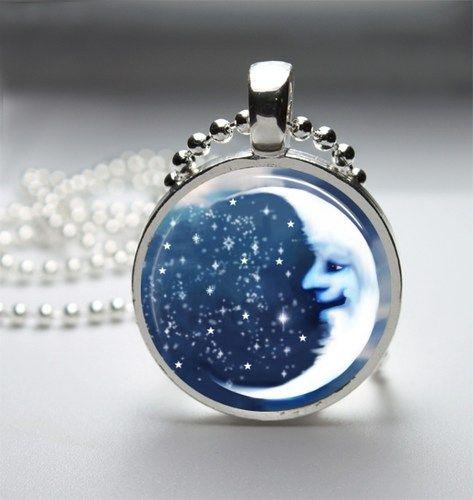 Blue moon glass tile bezel pendant necklace my style pinterest blue moon glass tile bezel pendant necklace aloadofball Images