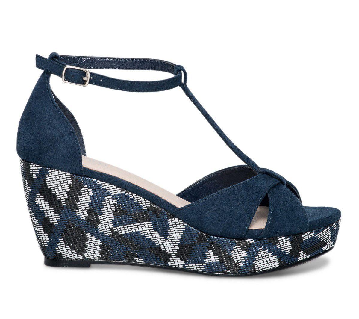 Sandale compensée ethnique bleue - Sandales talon - Chaussures femme ... 11338abcbd87