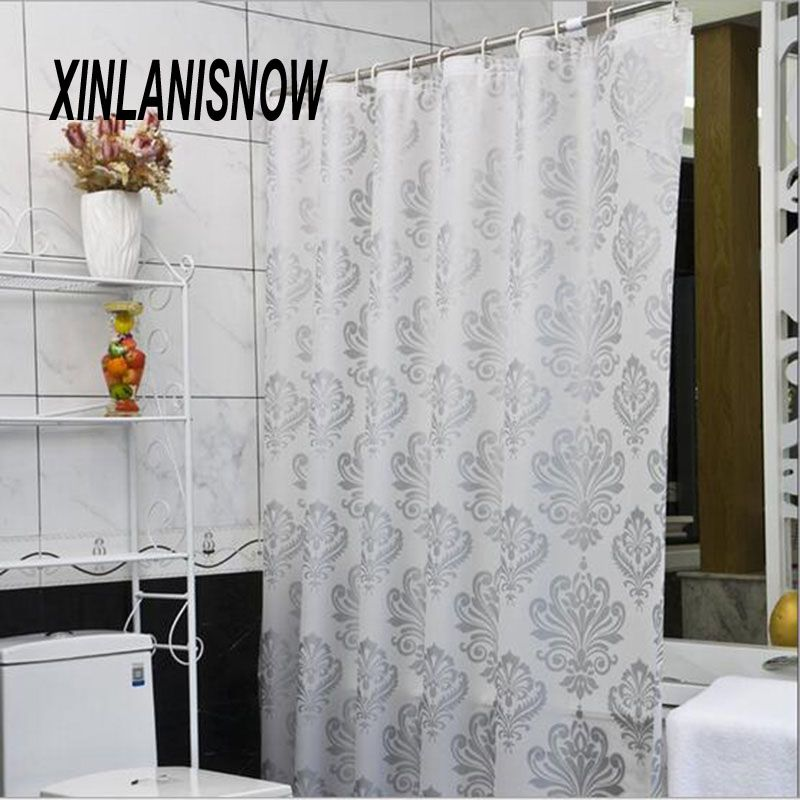 European Style Shower Curtain Silver Plant Shape Curtain Shower