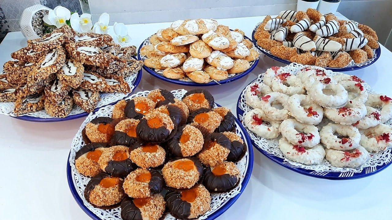 5 أشكال حلويات العيد بعجين الزبدة والنشا بمذاقات مختلفة الكراميل البيسكوي والشوكولا Arabic Sweets Food Sweets