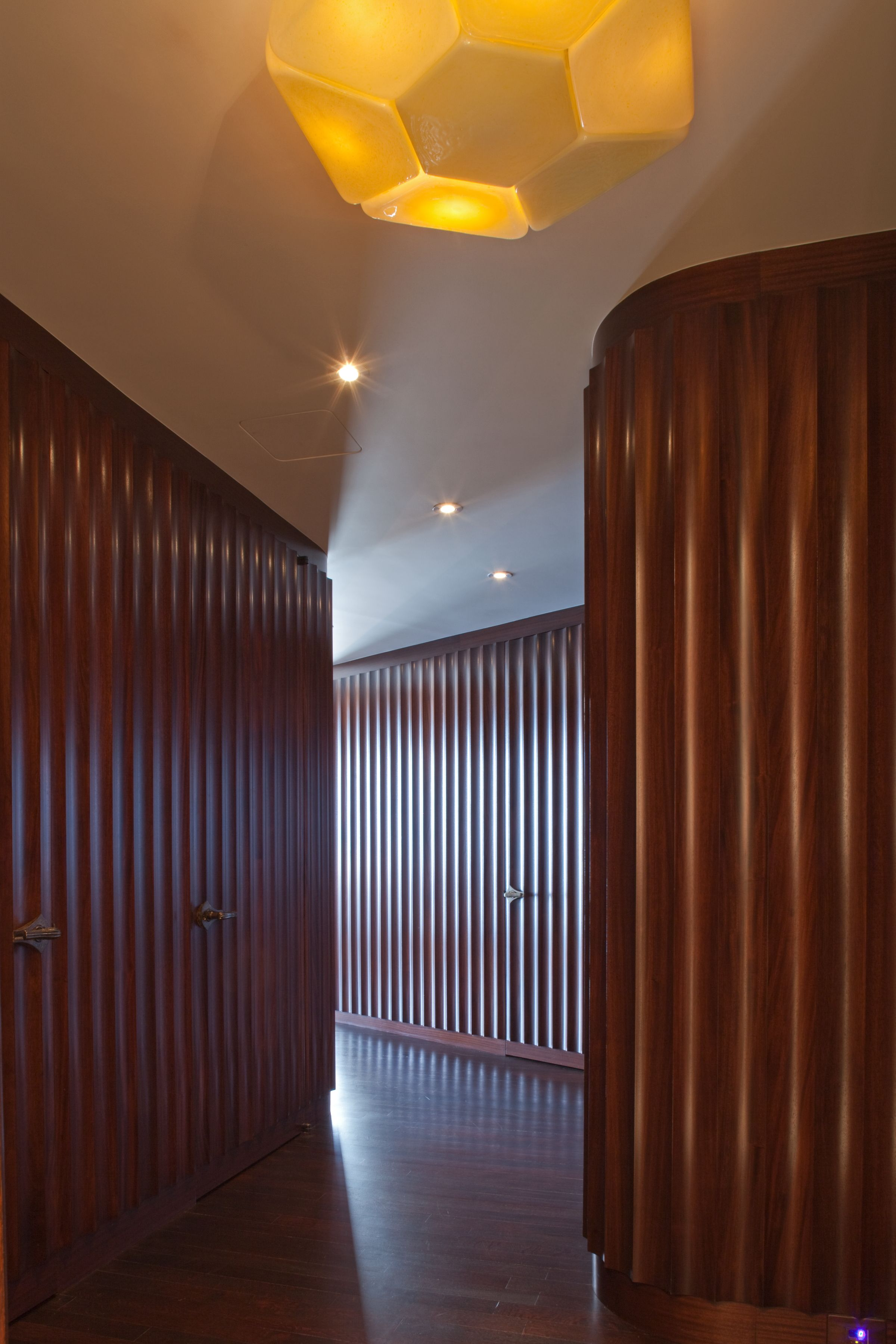 Wood Paneled Room Design: Custom Wood Paneled Wall, Curved Wood Paneled Wall