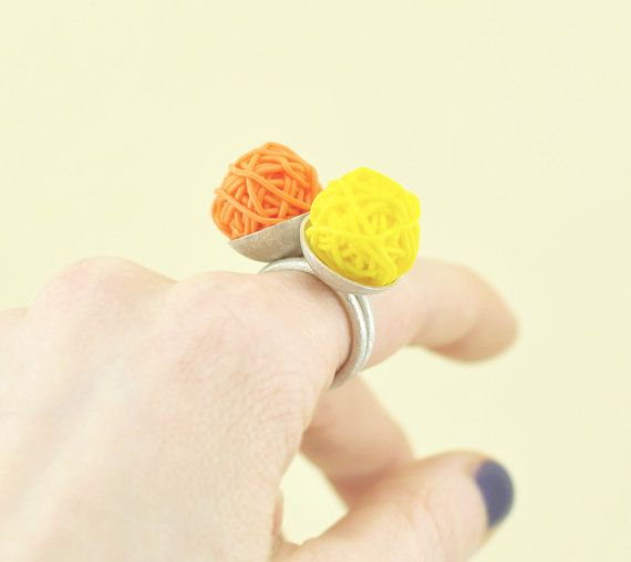 Polymer Clay and Silver Stacking Rings Citrics by mariagotijoyas, €56.00