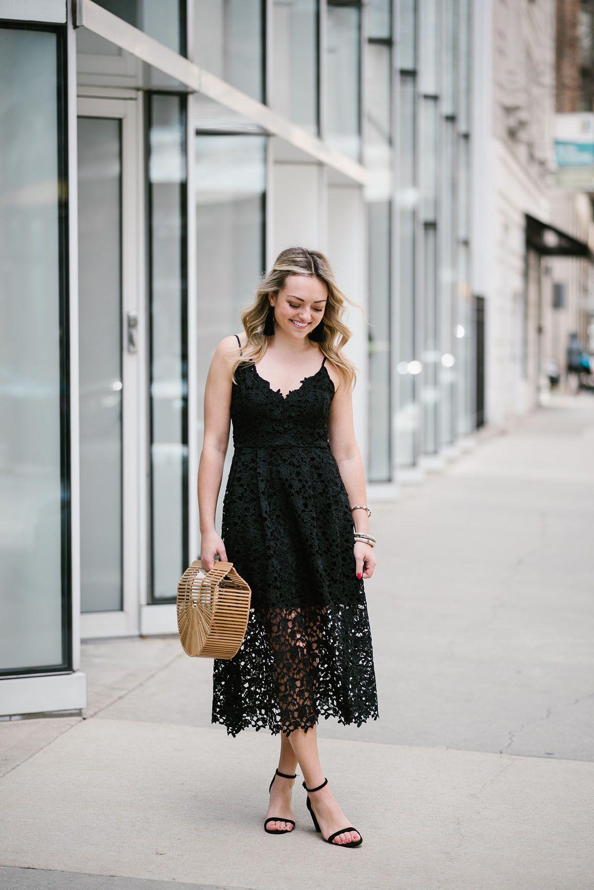 Summer Wedding Guest Black Lace Midi Dress Fashionista Black