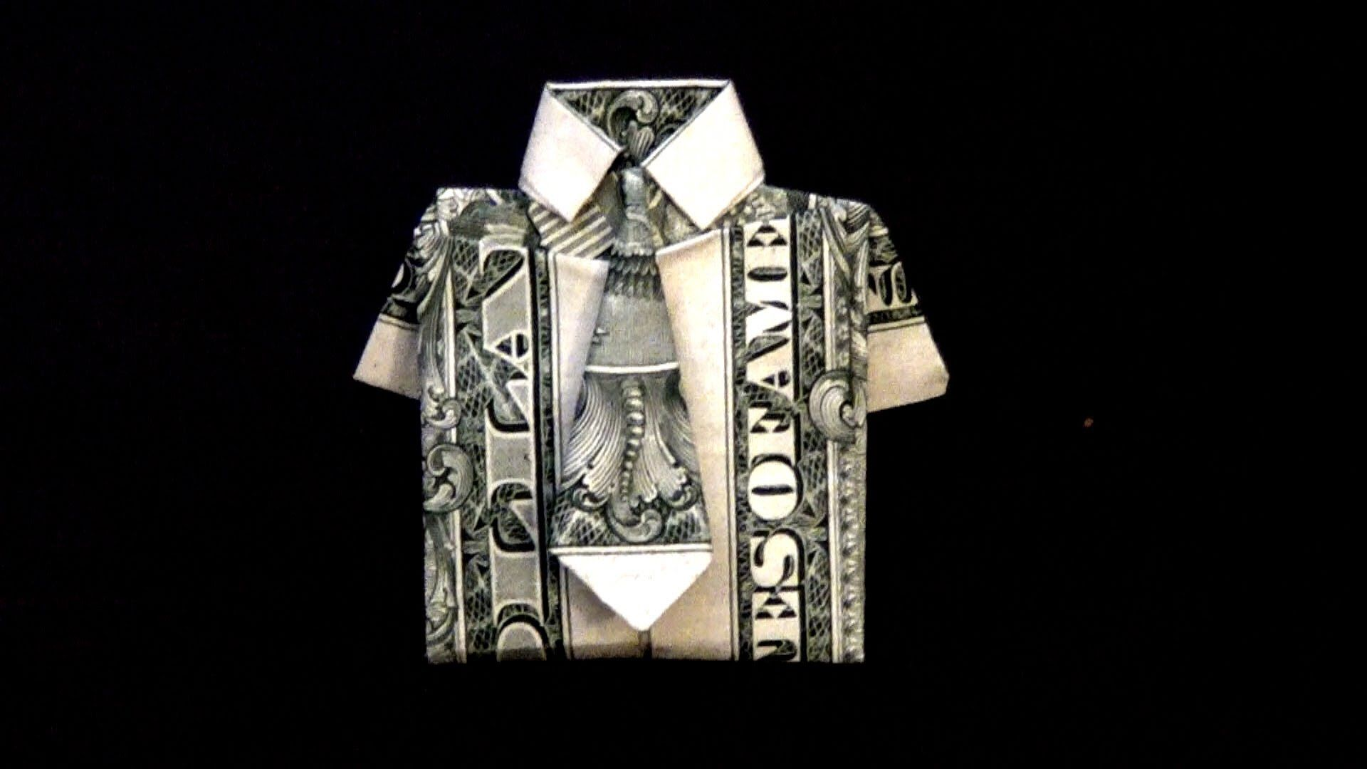 Origami money folding instructions cool ideas - How To Fold A Dollar Bill Into A Dollar Origami Shirt And Tie Diy Tutorial Step