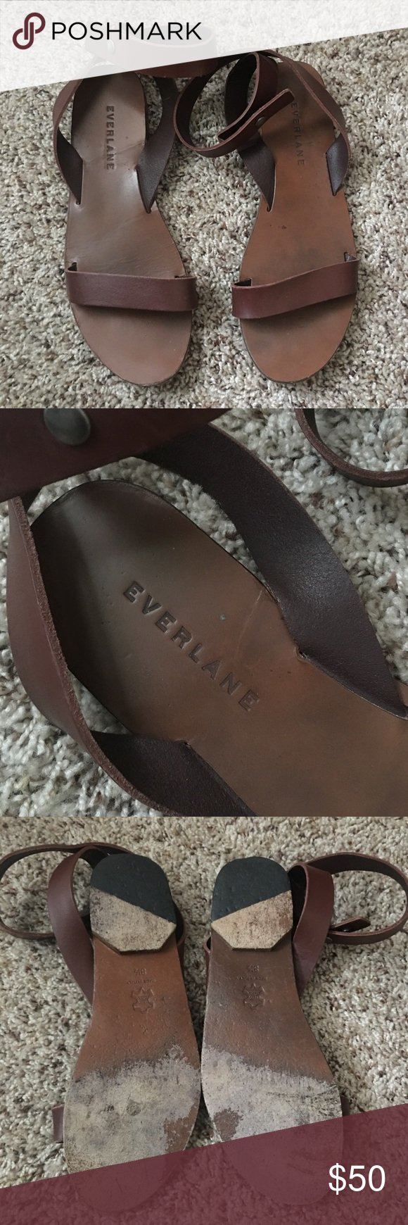 GUC Everlane Italian Ankle-Wrap Sandals-8.5/Fig Lovely and delicate Italian Ankle-Wrap leather sandals by Everlane. Normal wear, and lots of life left in them! Very comfortable shoes. Fit is TTS or possibly 1/2-size large (8.5 fits 8.5-9). Fig color is like a warm brown-burgundy - very versatile color. No longer available from seller. On the fence about selling; price is pretty firm. Everlane Shoes Sandals