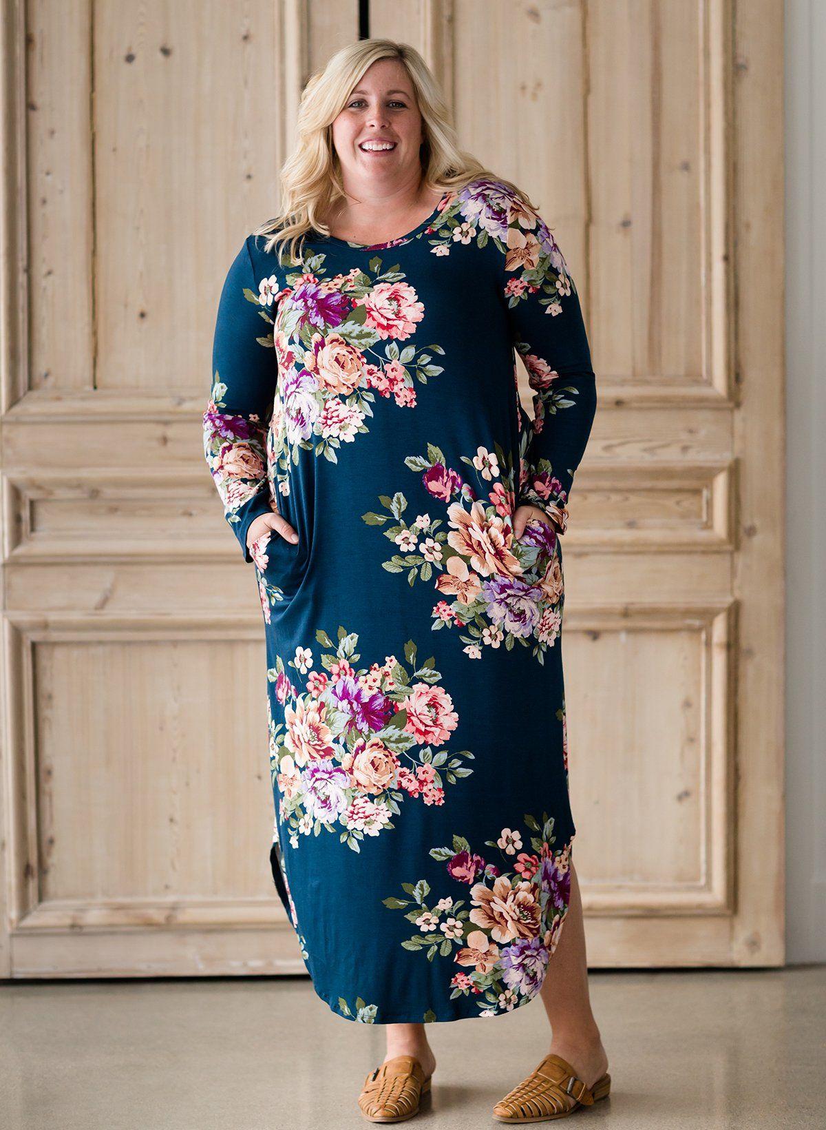 a490d138 Women's Modest Plus Fresh Floral Maxi Dress | Inherit Clothing Company – Inherit  Co.
