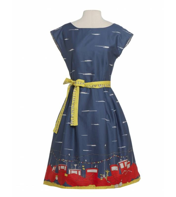 Beatrice Capped Sleeves in Indigo Boats - Womens Dresses from Poppy ...