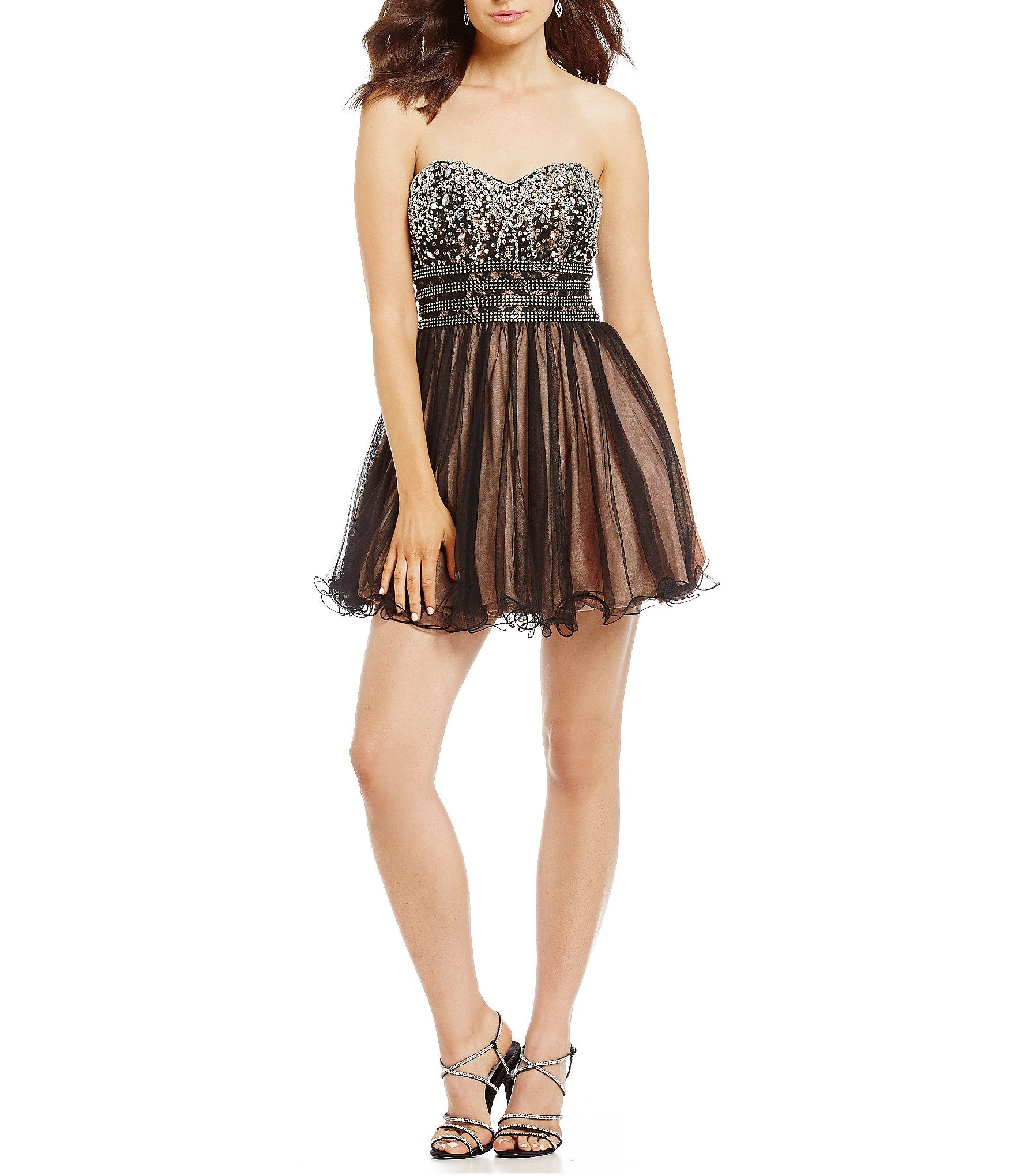 16f1e3e3bb2 Blondie Nites Strapless Beaded Bodice Fit-And-Flare Dress  Dillards ...