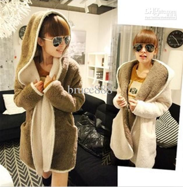 1796251b9902 Wholesale Coats - Buy Fashion Korean 2014 New Autumn And Winter Loose Cloak  Hooded Fleece Thick Warm Coats Casual Cardigan Women's Outerwear Clothes  $20.45 ...