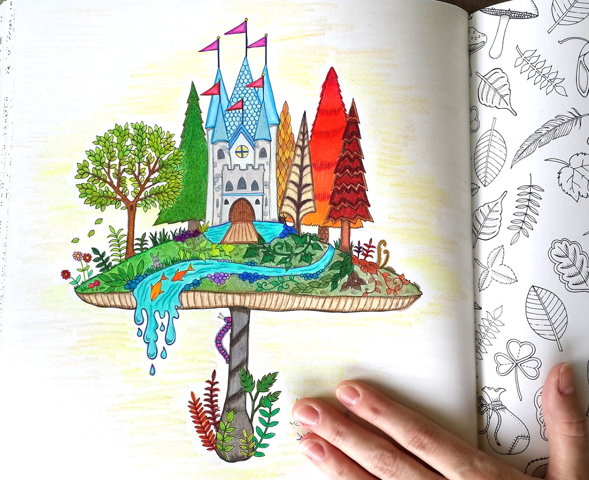 completed colored page of castle on a mushroom from the enchanted