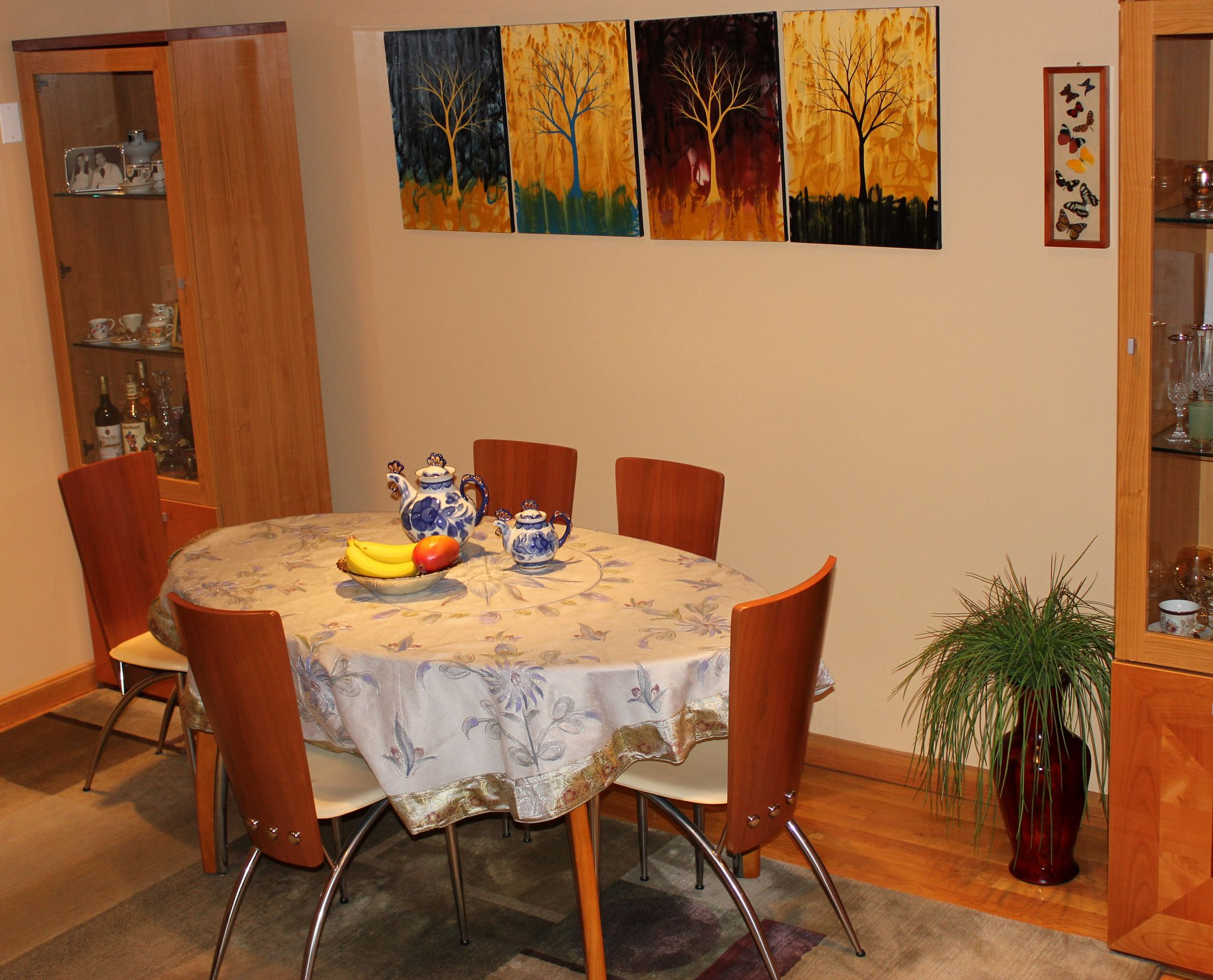 Contemporary dining area decorated with a hand painted for Wall designs for dining area