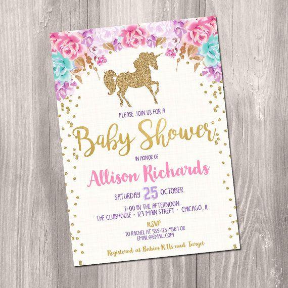 unicorn baby shower invitation, girl baby shower invitation, pink,