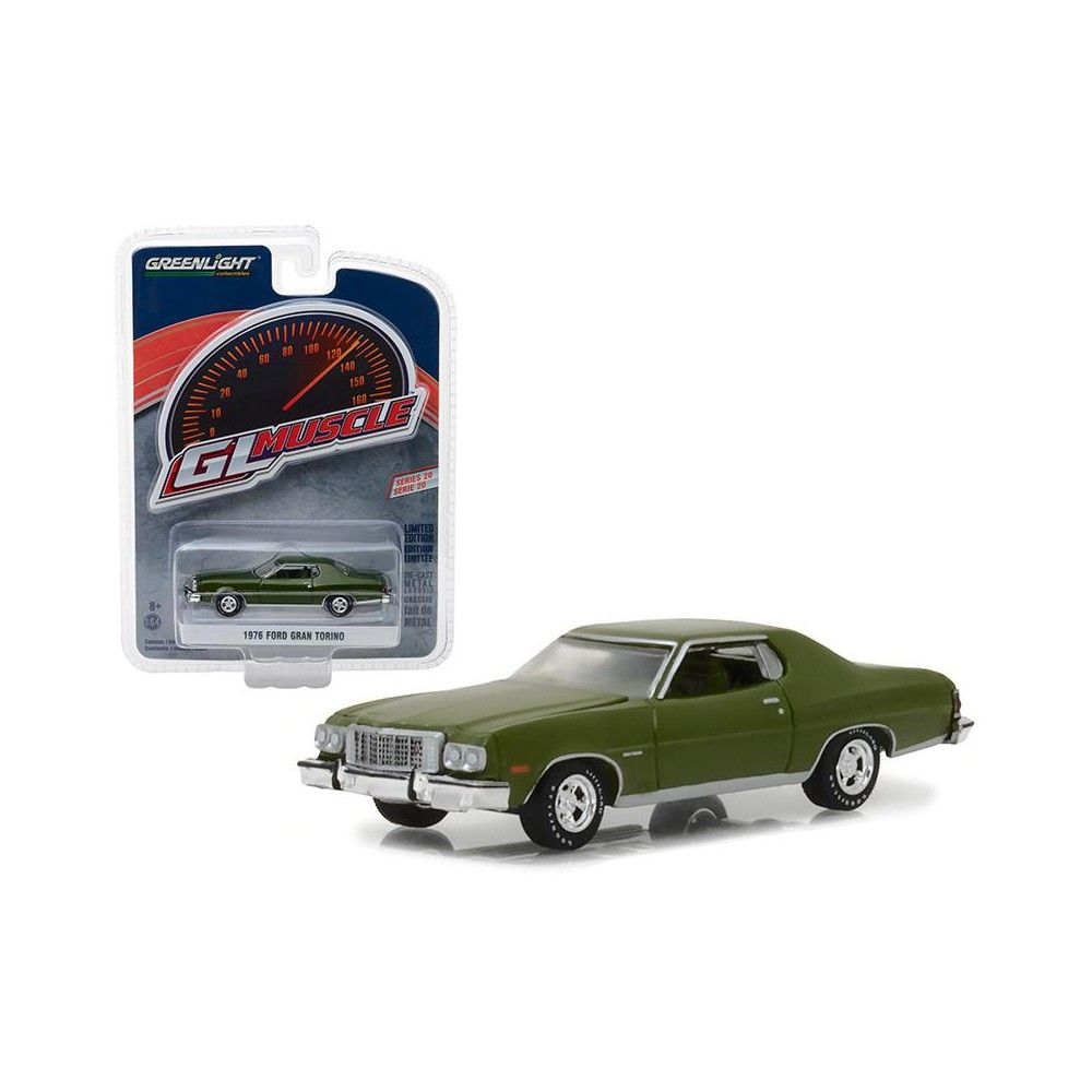 1976 Ford Gran Torino Dark Green Metallic Greenlight Muscle Series