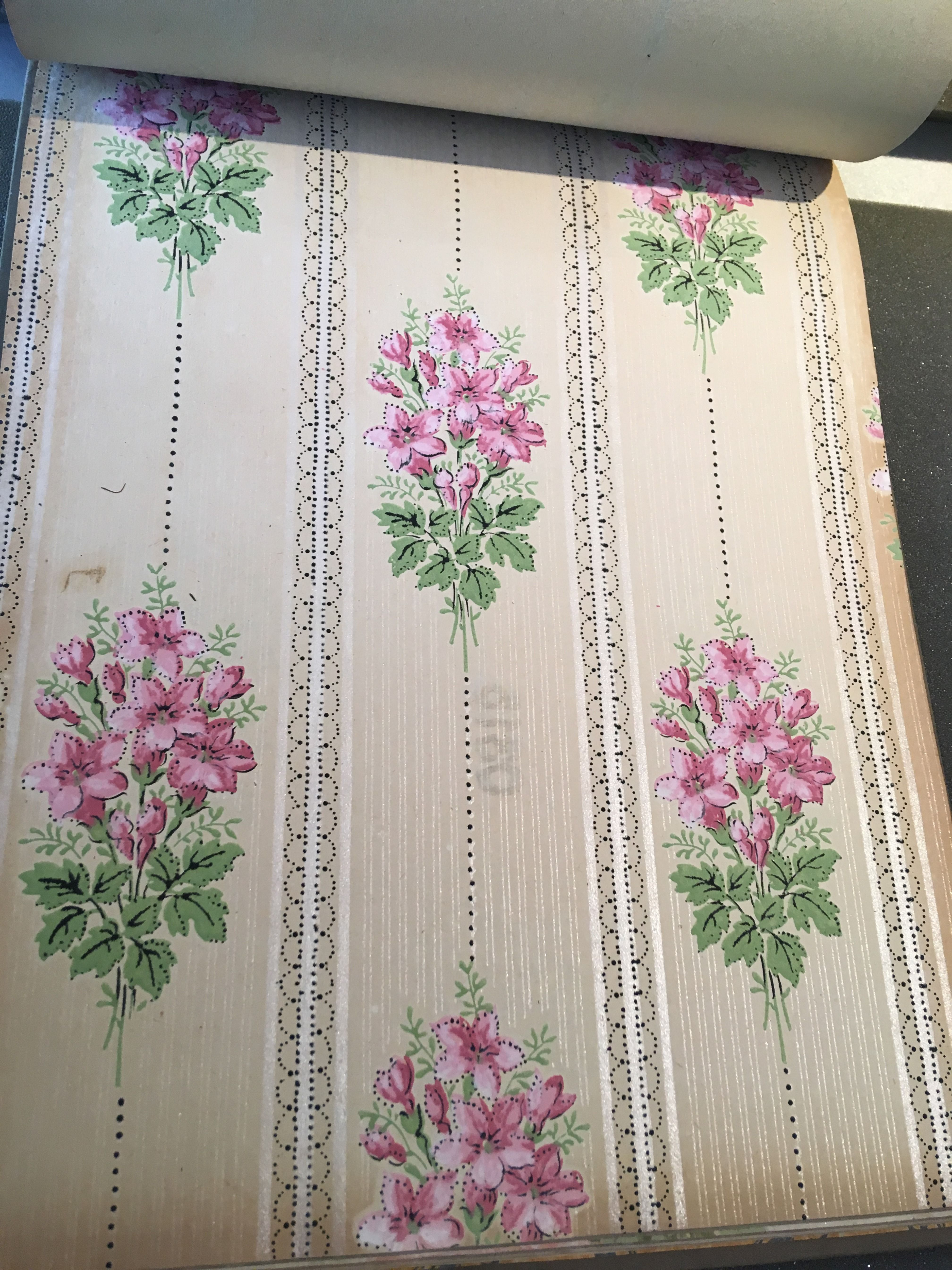 1914 antique Edwardian wallpaper with floral design from