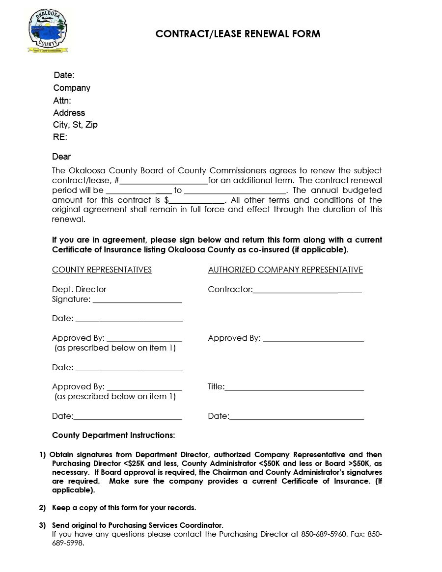 36 Best Lease Renewal Letters Forms Word Pdf ᐅ In Business