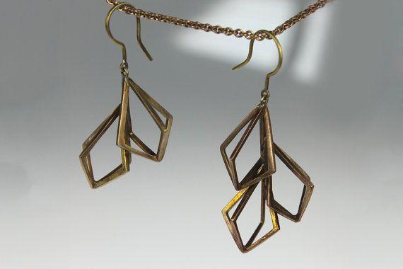 Asymmetrical Fractal Cluster Earrings Brass by TeeFigtree on Etsy