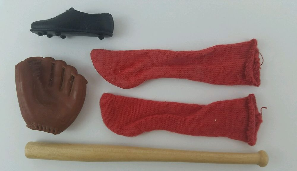 Vintage Barbie Ken Play Ball #792 Baseball Bat Mitt Red Socks Shoe #Mattel #Accessories
