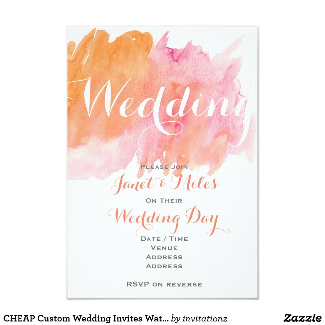 CHEAP Custom Wedding Invites Watecolor Coral Pink | Pink, Coral and ...