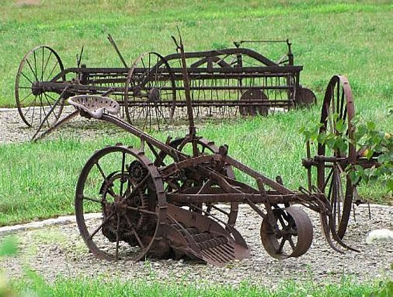 Hay Rake And Other Farm Machinery With Images Old Farm Equipment Vintage Farm Farm Equipment