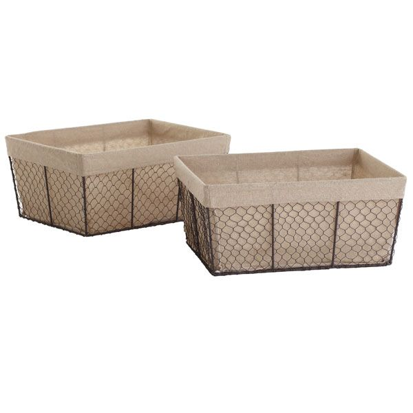 Linen Lined Wire Baskets