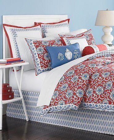 Martha Stewart Collection Bedding Ginger Jar 6 Piece Queen Comforter Set Red White Blue By Martha Stewart Htt Comforter Sets Queen Comforter Sets Bedding Sets