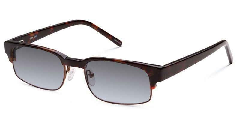 Сheap glasses Dicaprio 80 sunglasses have a faux semi-rimless look for full frame sunglasses! These plastic dark tortoise shell colored frames that grace the top and temples of the frame, have metal surrounding the larger rectangular lenses for a sturdy feel. Light weight and stylish, these sunglasses are perfect for all vision types. http://www.glassesusa.com/dicaprio-115.html