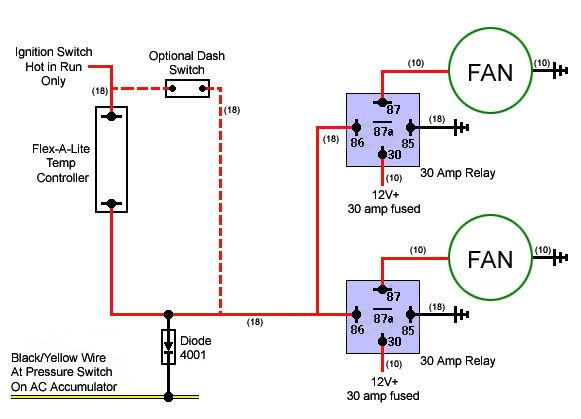 12v 30a relay 4 pin wiring diagram omron my4n imperial electric fan conversion